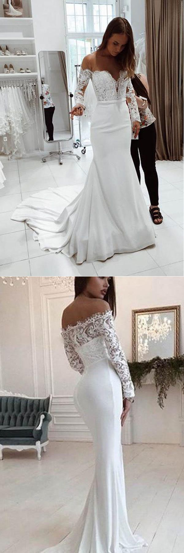 Lace dress gown  Mermaid Off the Shoulder Long Sleeves Sweep Train Wedding Dress with