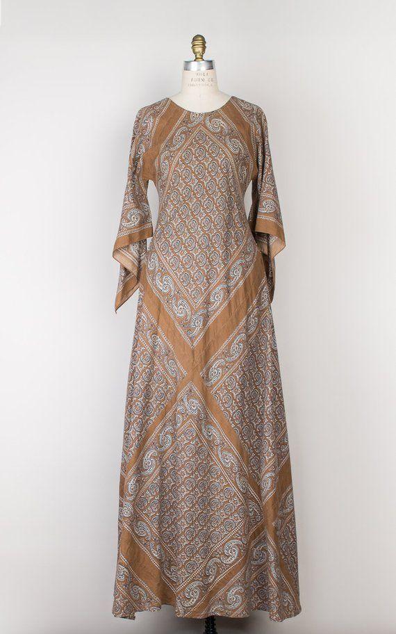 2b300b72ec 1970s Indian Cotton Maxi Dress | Vintage 70s Boho India Bias Cut Kaftan  Dress with Angel Sleeves | B
