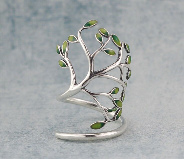 Adjustable Ring Womens Gift Wrap Ring Branch Ring Best Gift Idea. Tree Ring With Branches And Leaves Made of Sterling Silver Silver Jewelry Silver Ring Gift For Her Gift Women