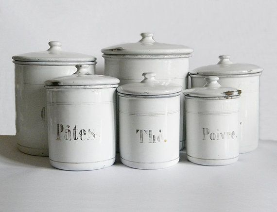 French Enamel Canisters 6 Vintage Enamelware White By Thehopetree 125 00