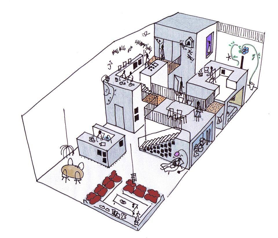 Architecture Design Concept Sketches mark koehler architects, house like a village concept sketch