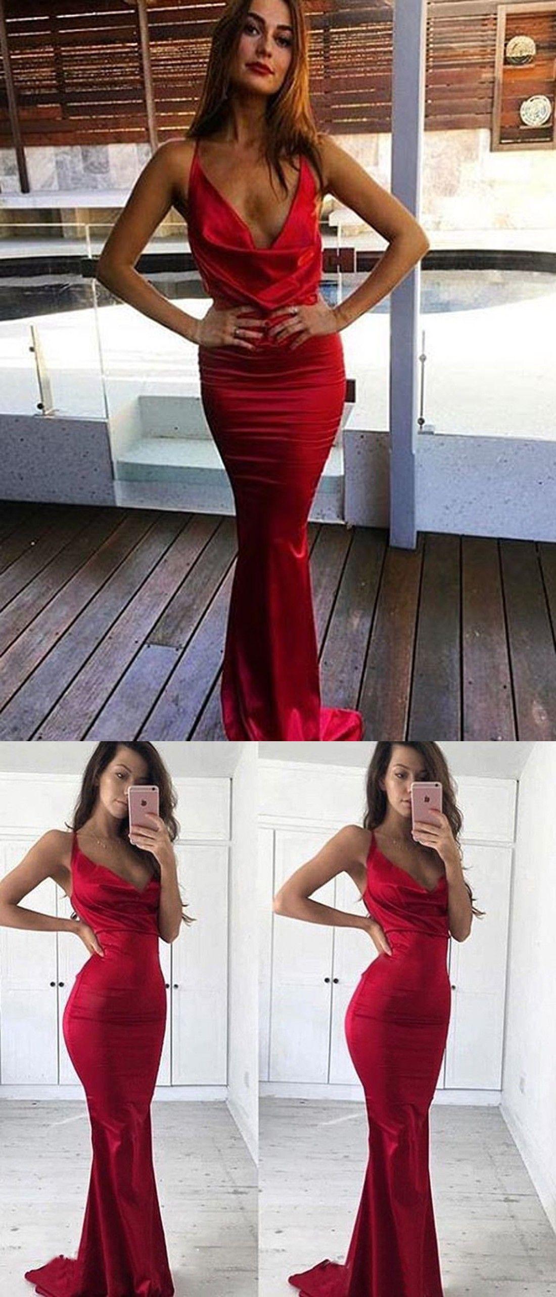 58efcae1339 Mermaid V-Neck Sweep Train Dark Red Elastic Satin Prom Dress ...