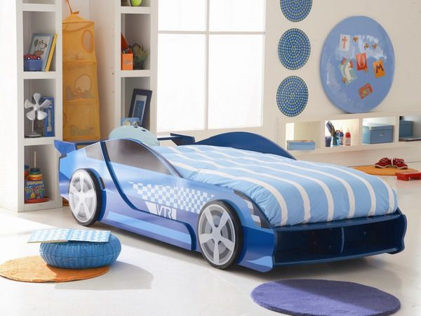 15 Cute Car Shaped Bed Designs For Kids Room Cute Blue Sport Car Shaped Bed Design With Comfy Bed For Cool Boys Room Kids Car Bed Car Bed Bed Design