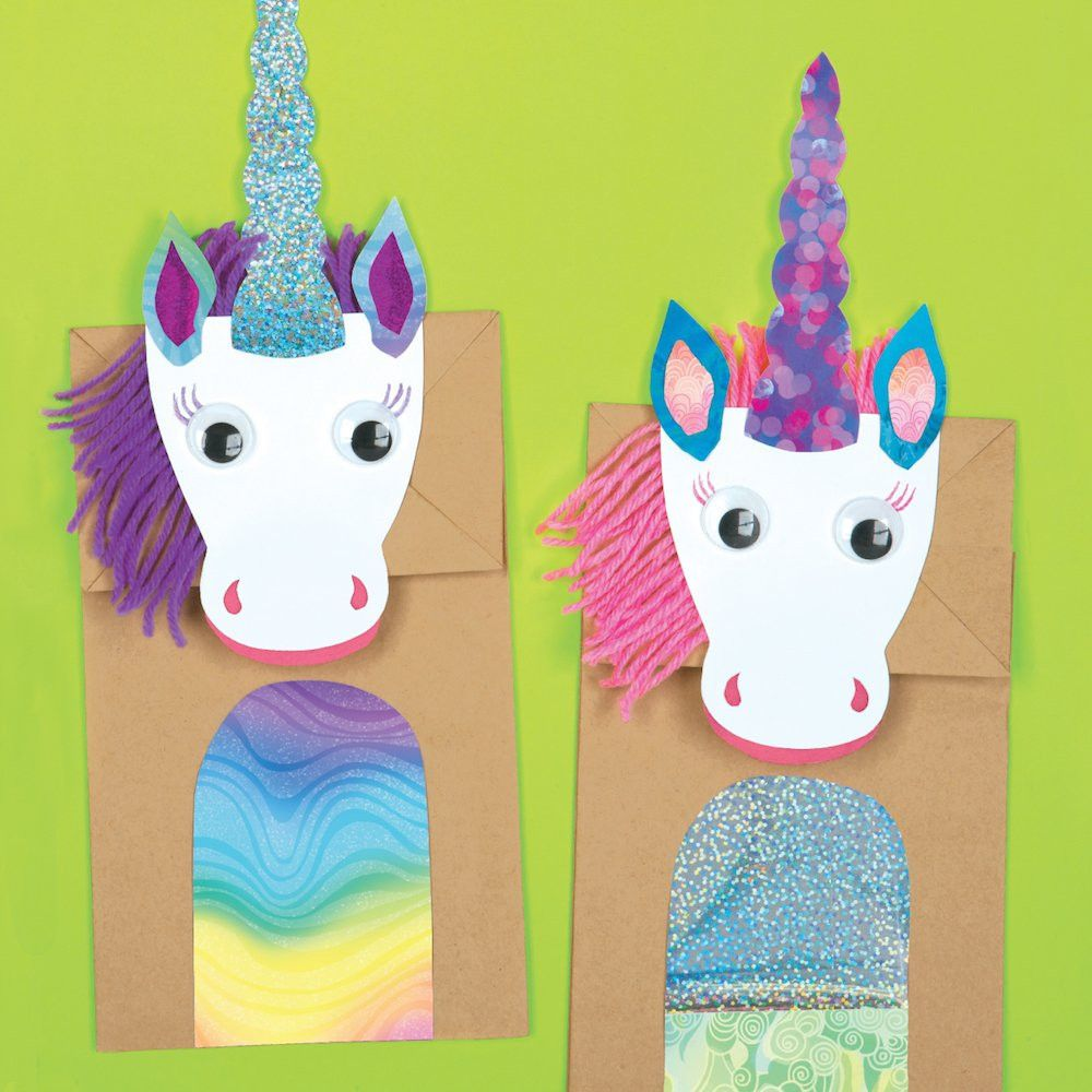 Magical unicorns paper bag craft kit e me 3 for Brown paper bag crafts for preschoolers