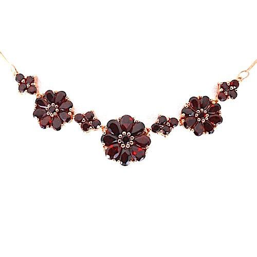 WOW NATURAL GARNET ROSE GOLD PLATED GEM STERLING SILVER 925 NECKLACE 18.5 INCH