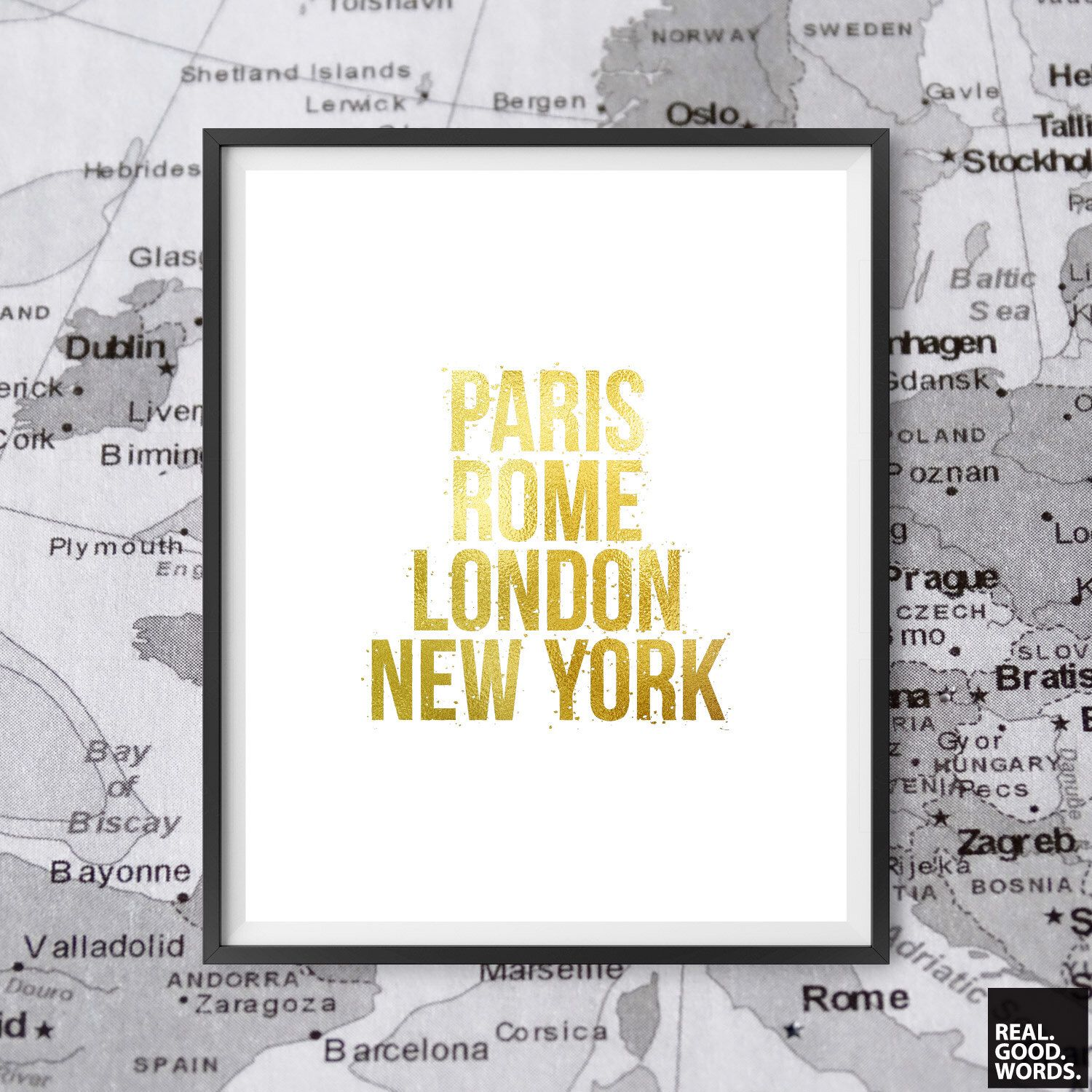 Gift Ideas For Her Matte Gold Travel Decor Wall Art Paris Rome ...