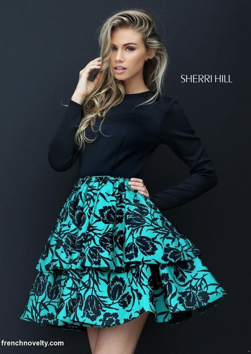 Sherri Hill 50559 Long Sleeve Floral Short Party Dress | Short party ...