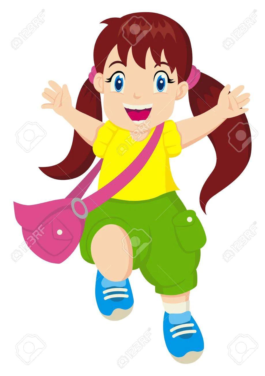 Ilustracion De Dibujos Animados De Una Nina Alegre Cartoon Illustration Character Girls Characters