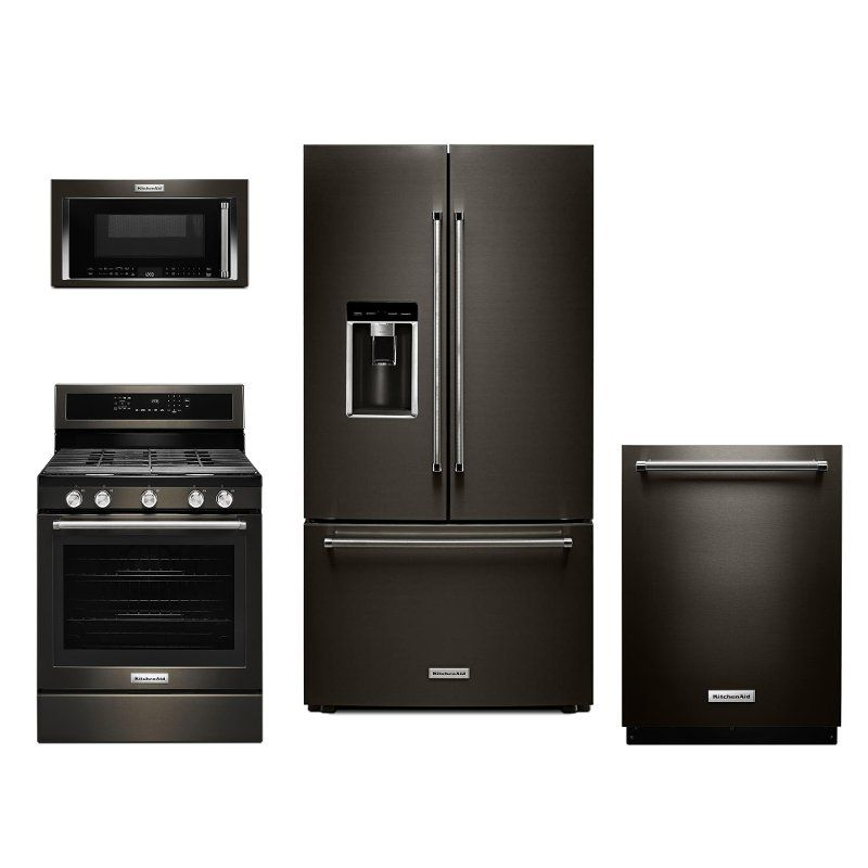 Kitchenaid 4 piece kitchen appliance with gas range