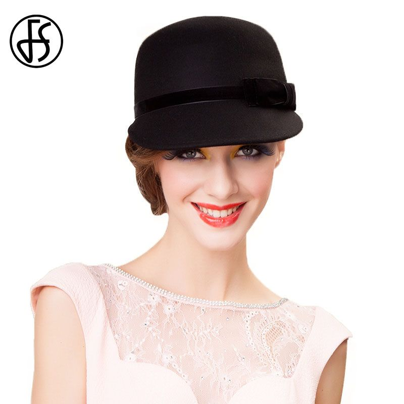 3bfe55ed547 FS 100% Australia Wool Felt Hat Black Womens Wide Brim Fedoras Ladies Bow  Bowler Kentucky Derby Party Church Hats Chapeau Femme
