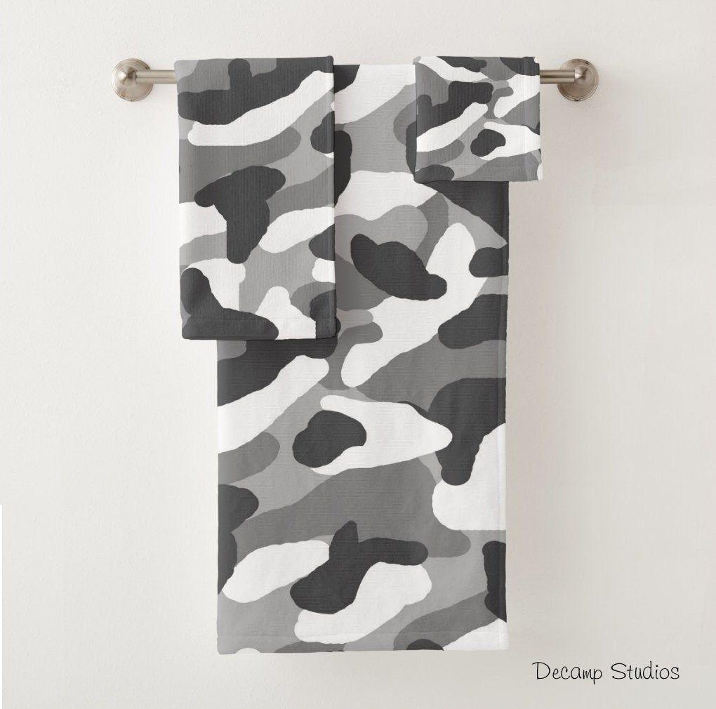 Camo Towel Set Gray Grey Camouflage Bathroom Bath Room Decor