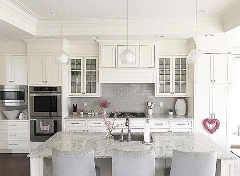Best White Kitchen With Grey Subway Tile Backsplash And Shaker 640 x 480