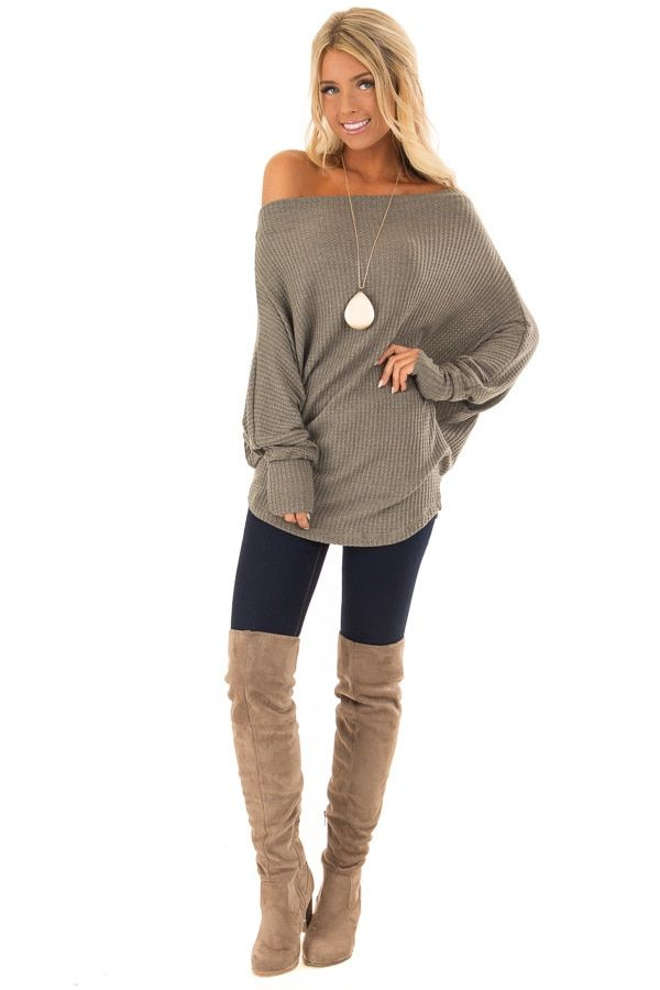 2a6cb8e7a0f6dd Dusty Olive Waffle Knit Dolman Off Shoulder Top front full body ...
