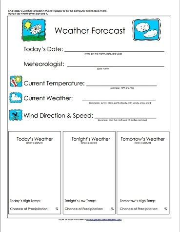 Take a look! Our weather forecast worksheet is a great ...
