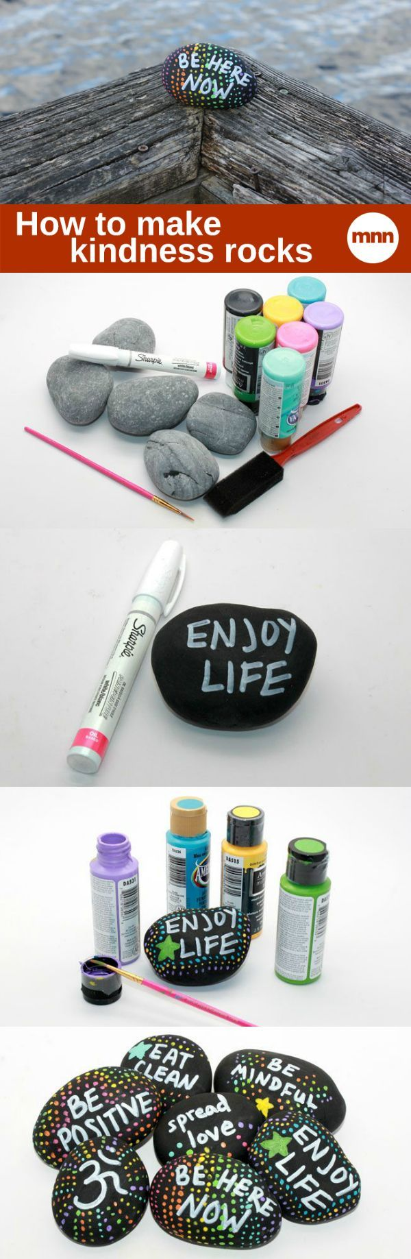 kindness rocks - find some flat stones - clean and decorate with