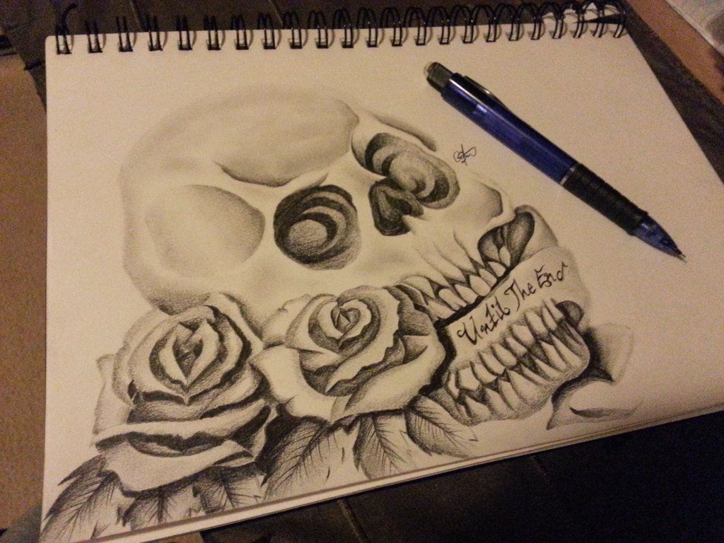 Awesome drawing skulls and roses