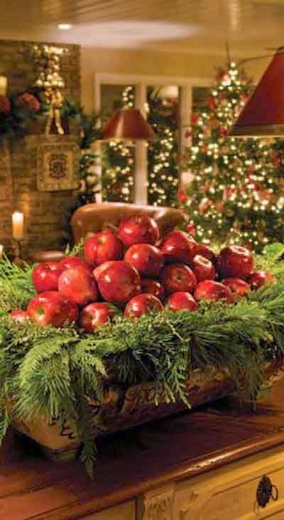 Christmas Colors Green And Red Shown In Apples And Pine. An Edible Kitchen  Decoration. Apple Cinnamon Candles And Fresh Fruit Are The Best Things  During ...