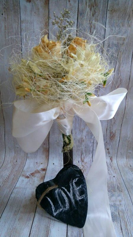 Elegant dry flowers Bride's Bouquet! by thehappylittlejar on Etsy