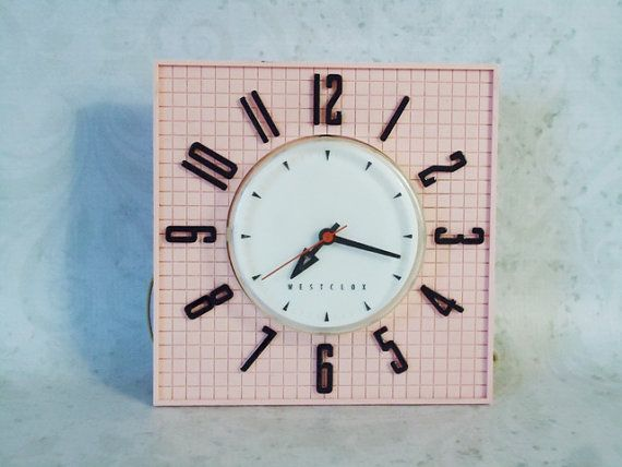 1950s Pink Westclox Kitchen Clock In Working By Swirlingorange11 45 00 Retro Kitchen Clocks Pink Wall Clocks Clock