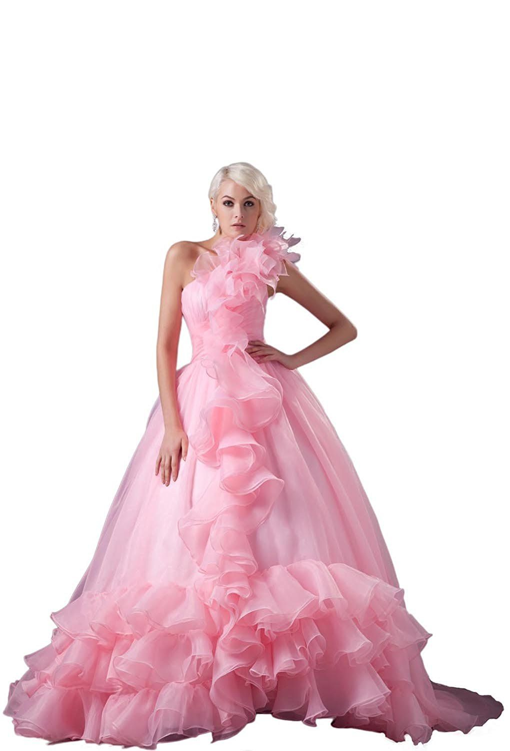 Angel Formal Dresses Pink Pleated Chapel Train Wedding Dress ...