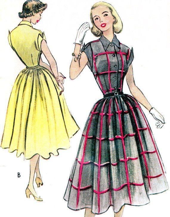 1950s Dress Pattern McCalls 8796 Full Skirt Shirtwaist Dress Cuffed ...