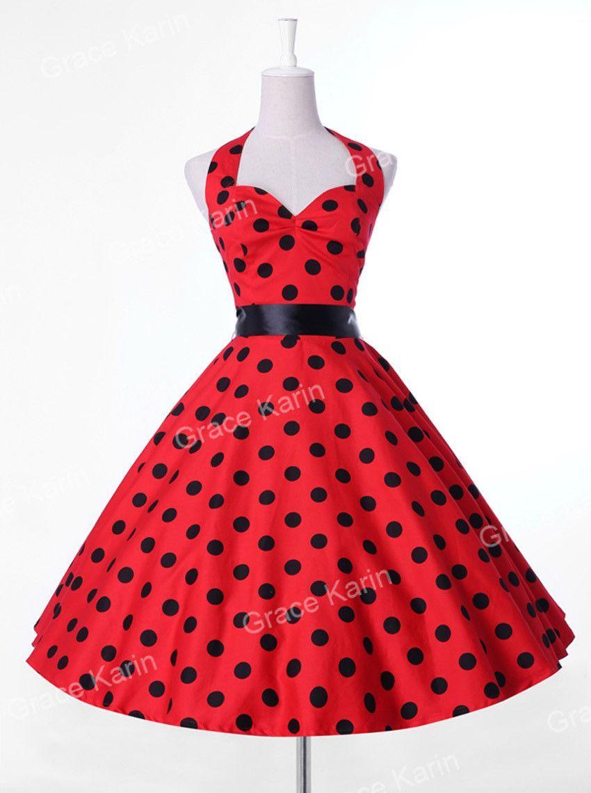 e1a22cb7fc91c Summer Women Dress Vestidos Retro Vintage Dress Polka Dots Pinup Rockabilly Plus  Size Sexy Halter Short Party Dresses