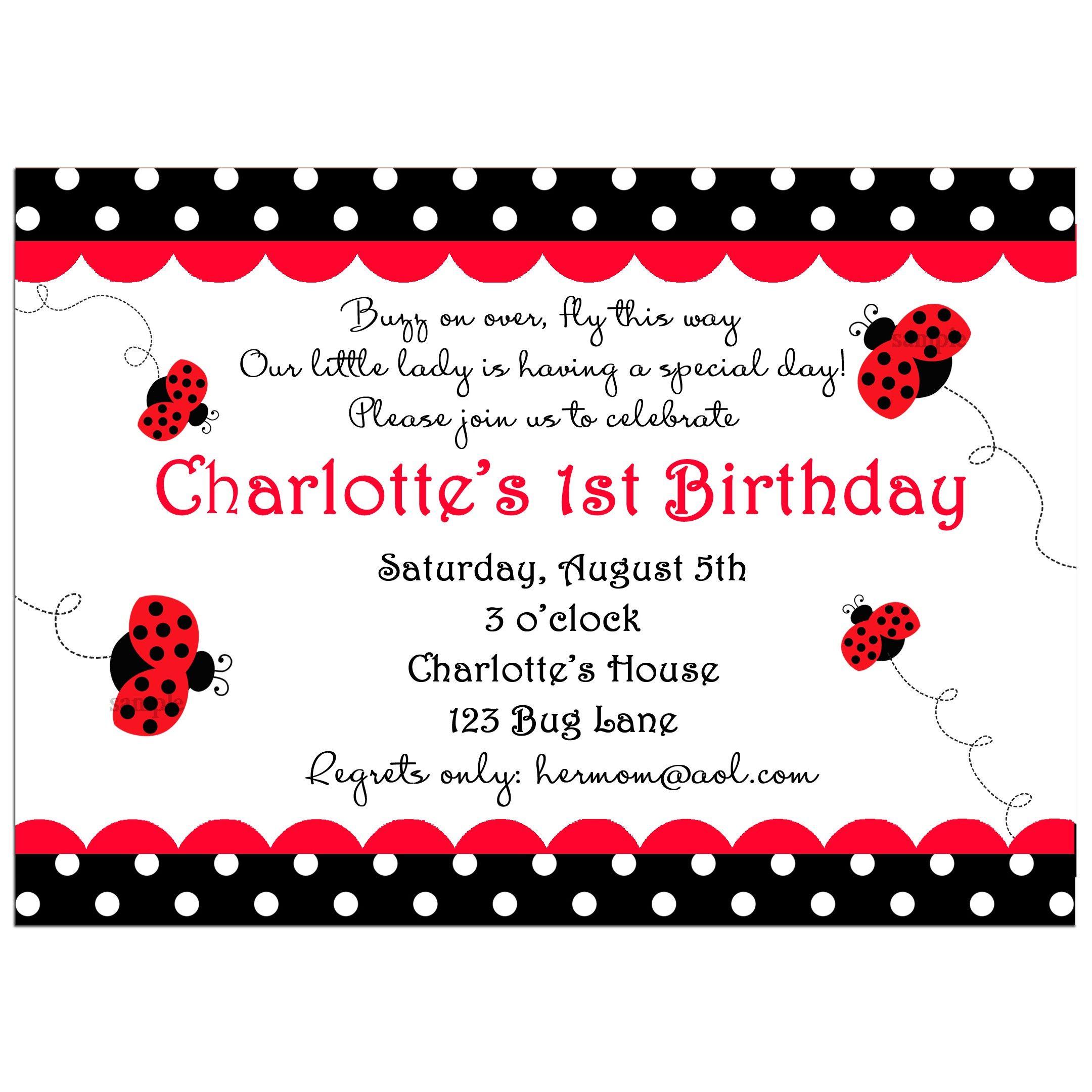 Ladybug Party Invitation - My Little Lady | Party Ideas | Pinterest ...