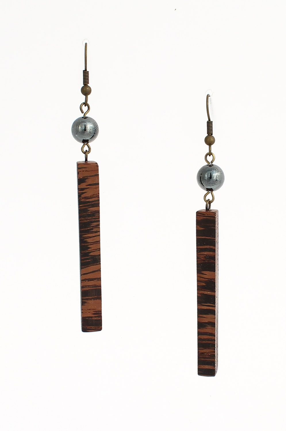 Long wooden earrings -  dangle wood earrings - exotic wood earrings urban earrings unique  earrings dramatic earrings bead earrings ancient earrings abstract art earring wood earrings hematite earrings long dangle earrings geometric earrings unique natural wood wooden jewelry dailyetsysales 25.00 USD #goriani