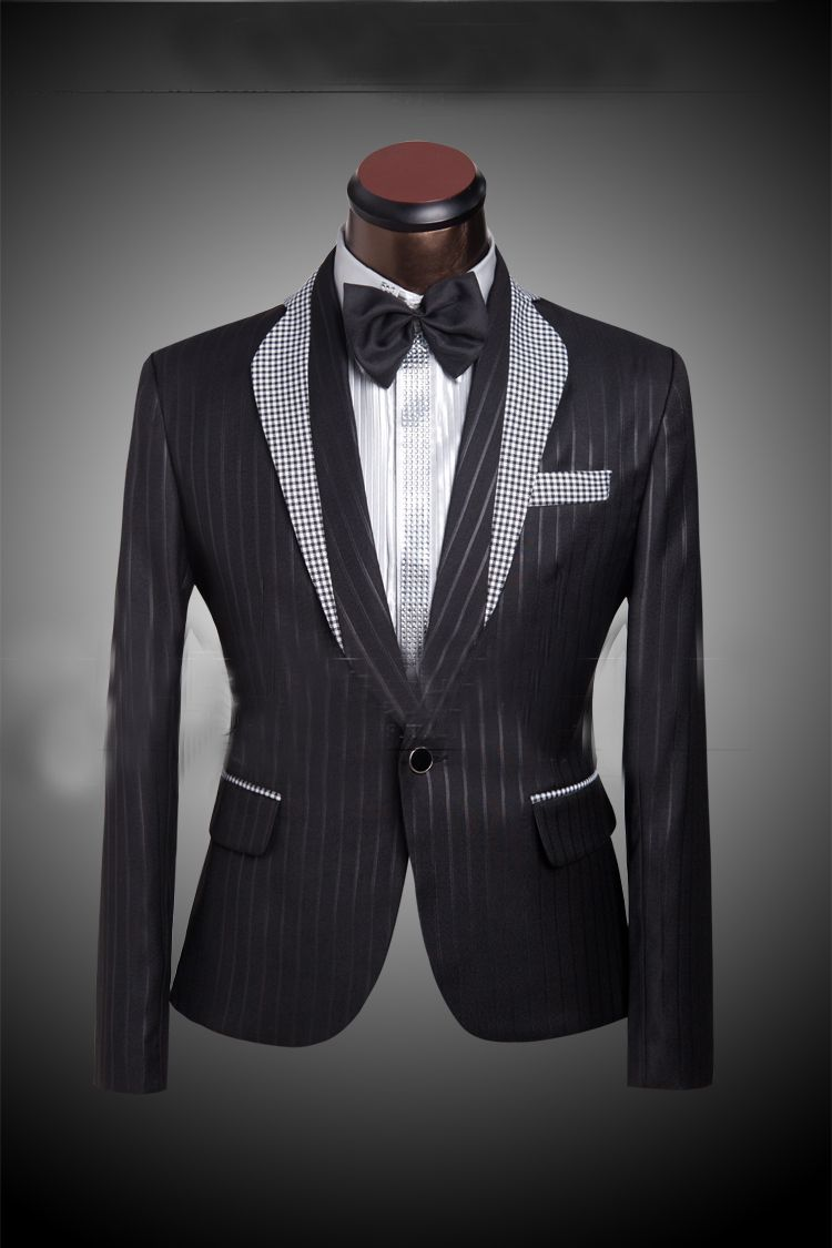 Grid Matching Collar Men's Black Wedding Suit Tuxedo For Men ...