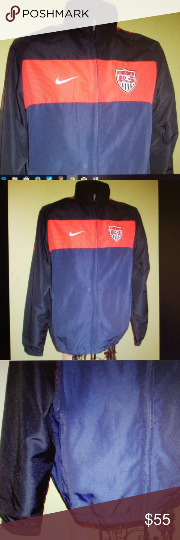 94ce663263 NEW Men s NIKE Navy Blue Jacket in LARGE Nike US Soccer Zip Track Jacket  Windbreaker in Navy Blue and Red Size Large Full Zip.