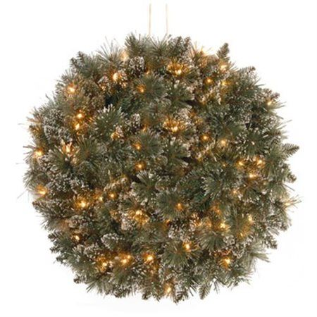 National Tree 16 inch Glittery Bristle Kissing Ball with 50 Battery
