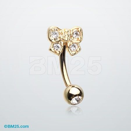Golden Dainty Bow Tie Sparkle Eyebrow Curved Barbell Ring