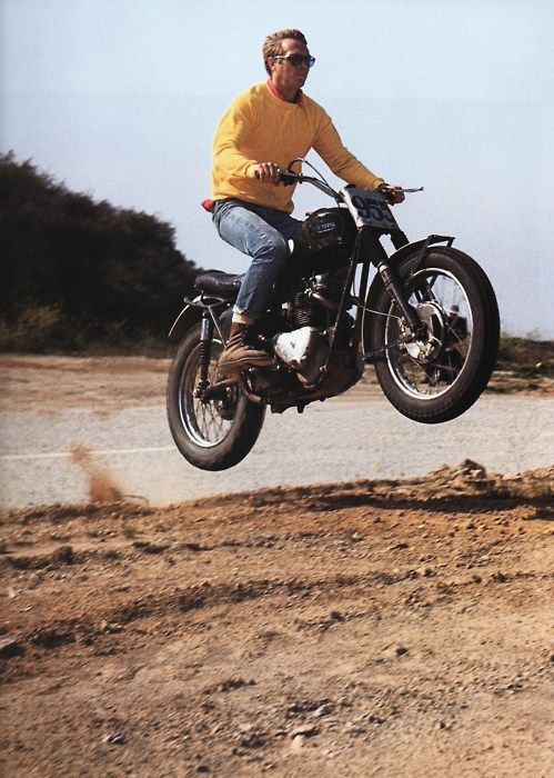 McQueen. (On a Triumph motorcycle near Mullholland Dr., Hollywood Hills, 1963.) - On Any Sunday - best movie ever!!
