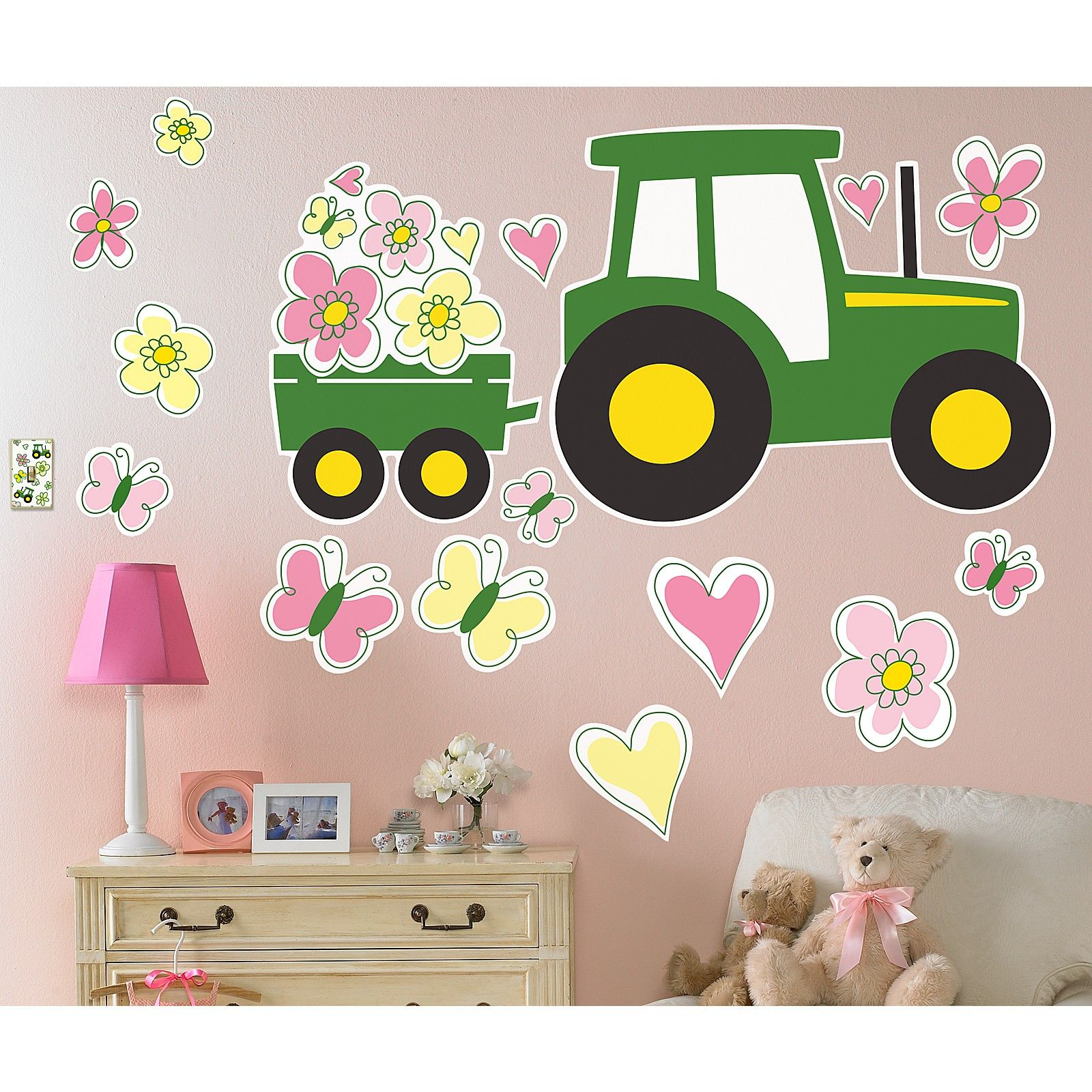 John Deere Pink Giant Wall Decals - John deere idees de decoration de chambre