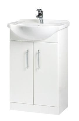 B Q Gloss White Vanity Basin Set 0000003897904 Bathroom Storage Units Freestanding Bathroom Furniture White Vanity