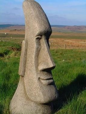Large Easter Island Head Garden Statue