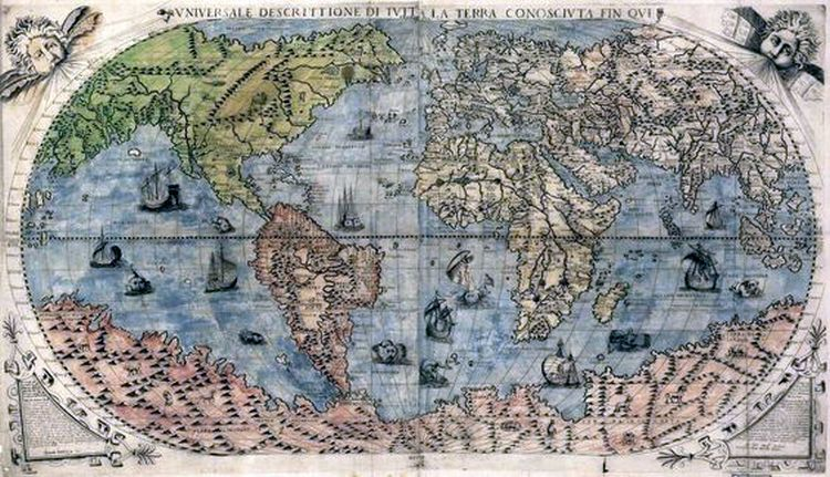 Old Map of the World from the 1500's. | Nautical Folk Art