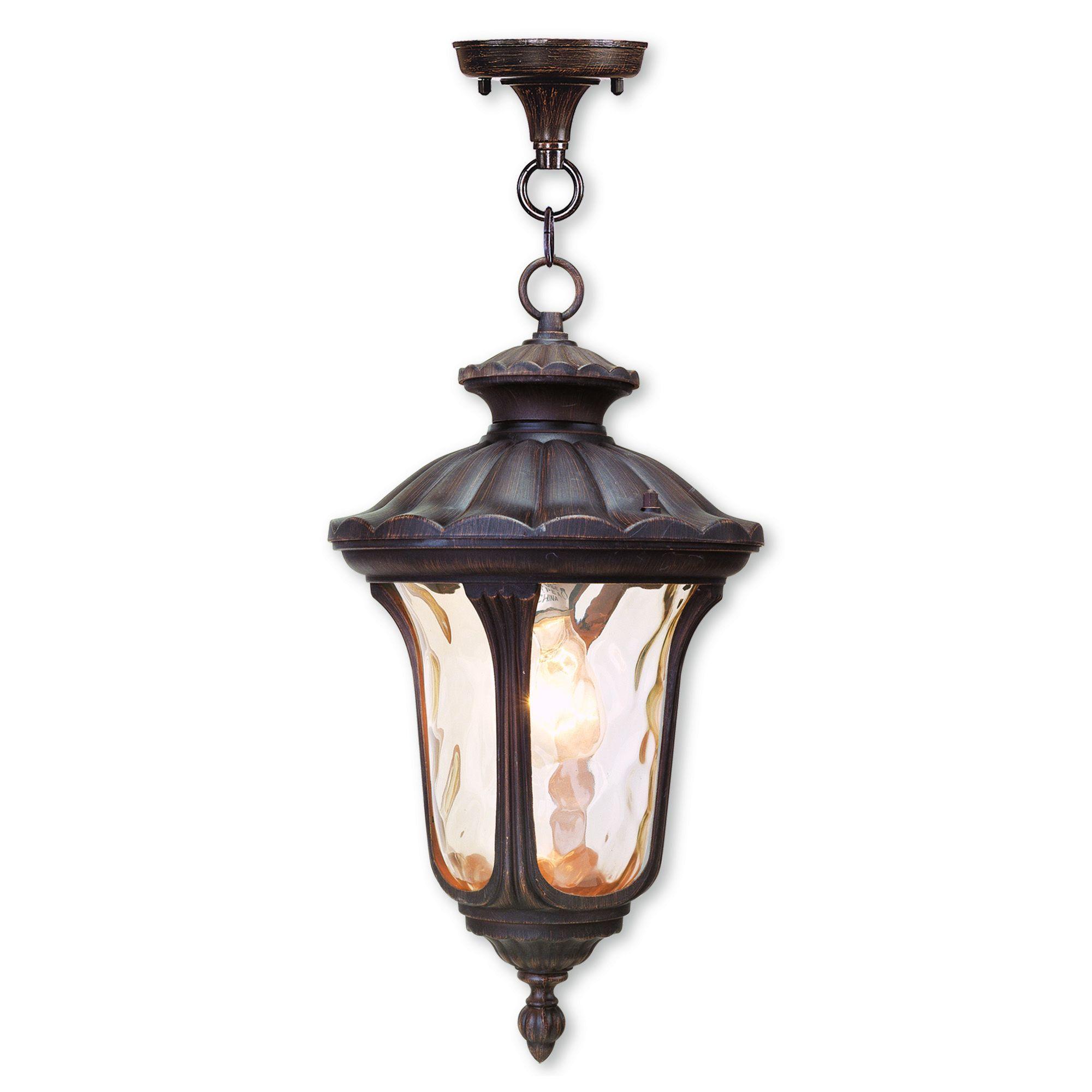 Livex Lighting Oxford Bronze Finish Aluminum One Light Hanging Chain Lantern Outdoor Hanging Lanterns Outdoor Hanging Lights