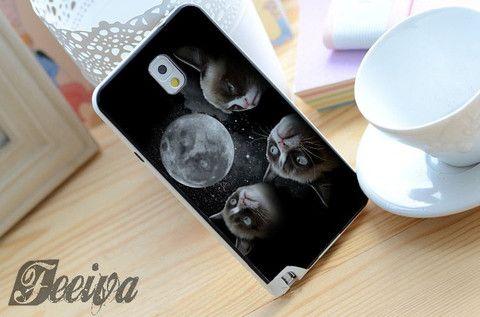 Black Grumpy Cat Like A Moon Phone Case For iPhone Samsung iPod Sony