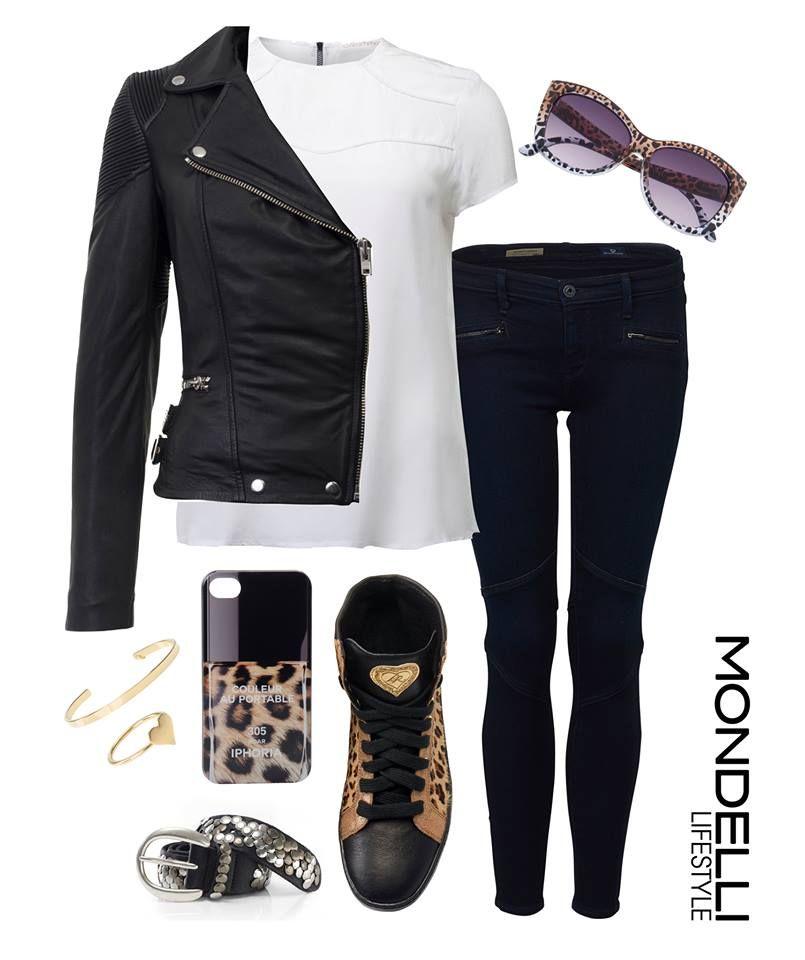 Ein super Look im Leo-Style! Outfit: Lederjacke von Muubaa, IHeart Bluse, Jeans von Adriano Goldschmied und Sneaker von LDIR. Dazu die Accessoires von Le Specs, Tom Shot, IPhoria und B.Belt.  Jetzt entdecken: http://bit.ly/1wXyMHI