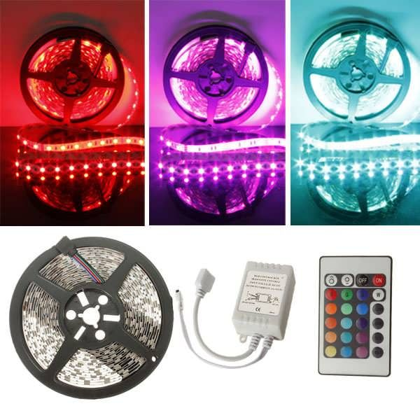 12V Waterproof Led Light Strips Entrancing 5M Rgb 300 Led 5050 Smd Nonwaterproof Led Strip Light 12V Dc Design Decoration