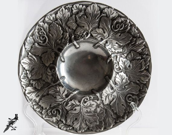 Chip and Dip Bowl/Platter - Candleholder or Centerpiece Solid Silver Metal Leaf Embossed Fabulous Grape Leaves Detailing! by TheCordialMagpie from Etsy. Find it now at http://ift.tt/1Vqqc4K!