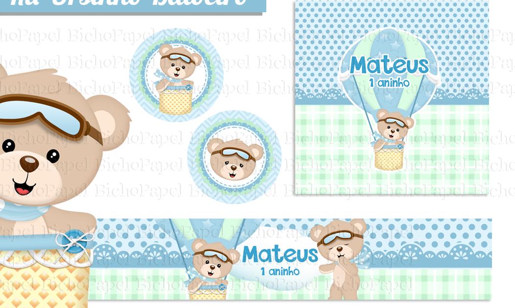 Kit Festa Ursinho Baloeiro Kit Festa Baby Shower Paper Crafts E