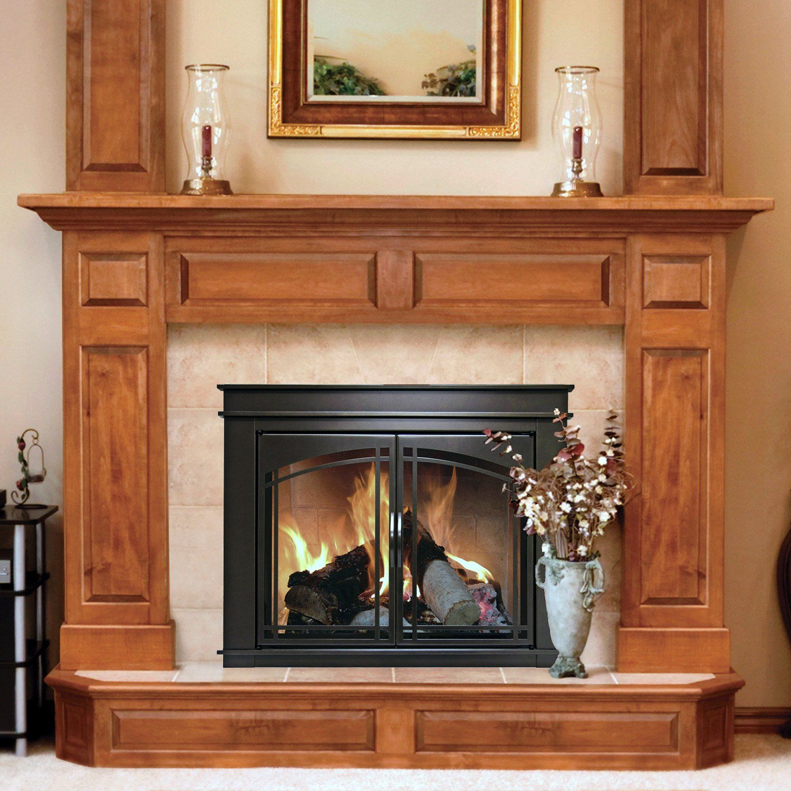 Pleasant Hearth Fenwick Cabinet Fireplace Screen And Arch Prairie Smoked Gl Doors Oil Rubbed Bronze From Hayneedle