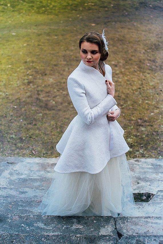 Bridal coat Warm Elegant Bridal Felted coat White от
