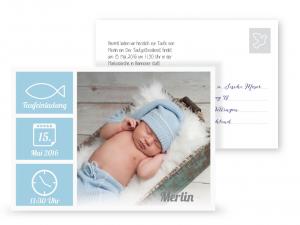hellblaue Taufeinladung, Postkarte, wichtige Daten, Postkarte
