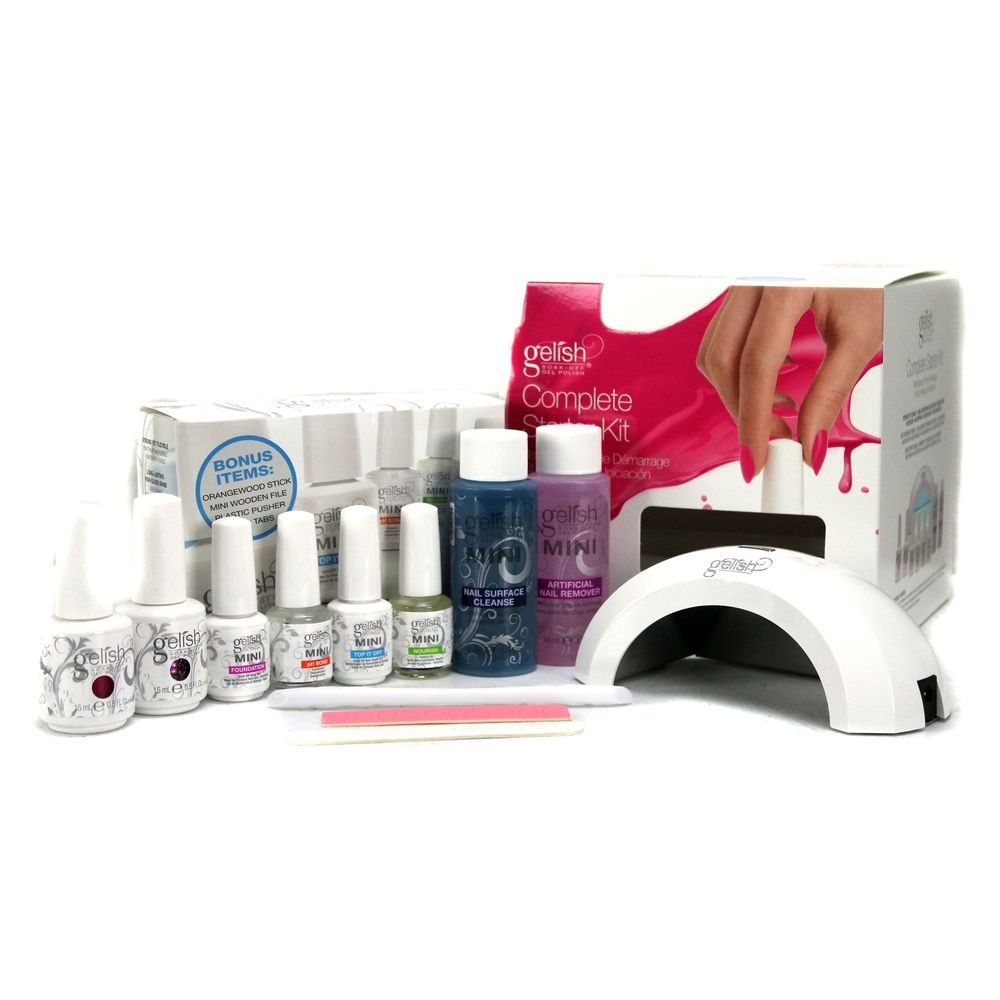Complete Starter Kit Requires Use Of Gelish Led Drying Curing Lamp Uses Gelish Patented Technology For Easy Soak O Gel Nail Kit Nail Polish Kits Polishing Kit