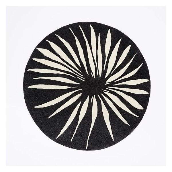 West Elm Round Petal Rug Black White