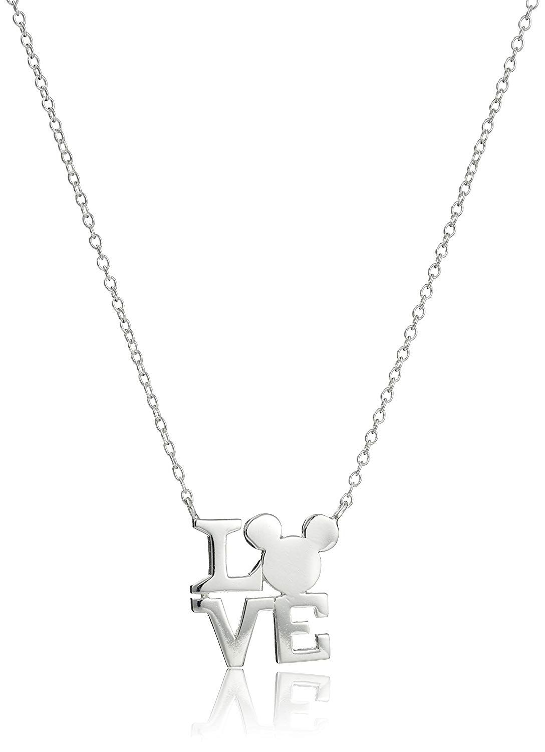 66311159b Disney Sterling Silver Love with Mickey Mouse Silhouette Pendant Necklace,  18' * We appreciate you for having seen our picture. (This is an affiliate  link) ...