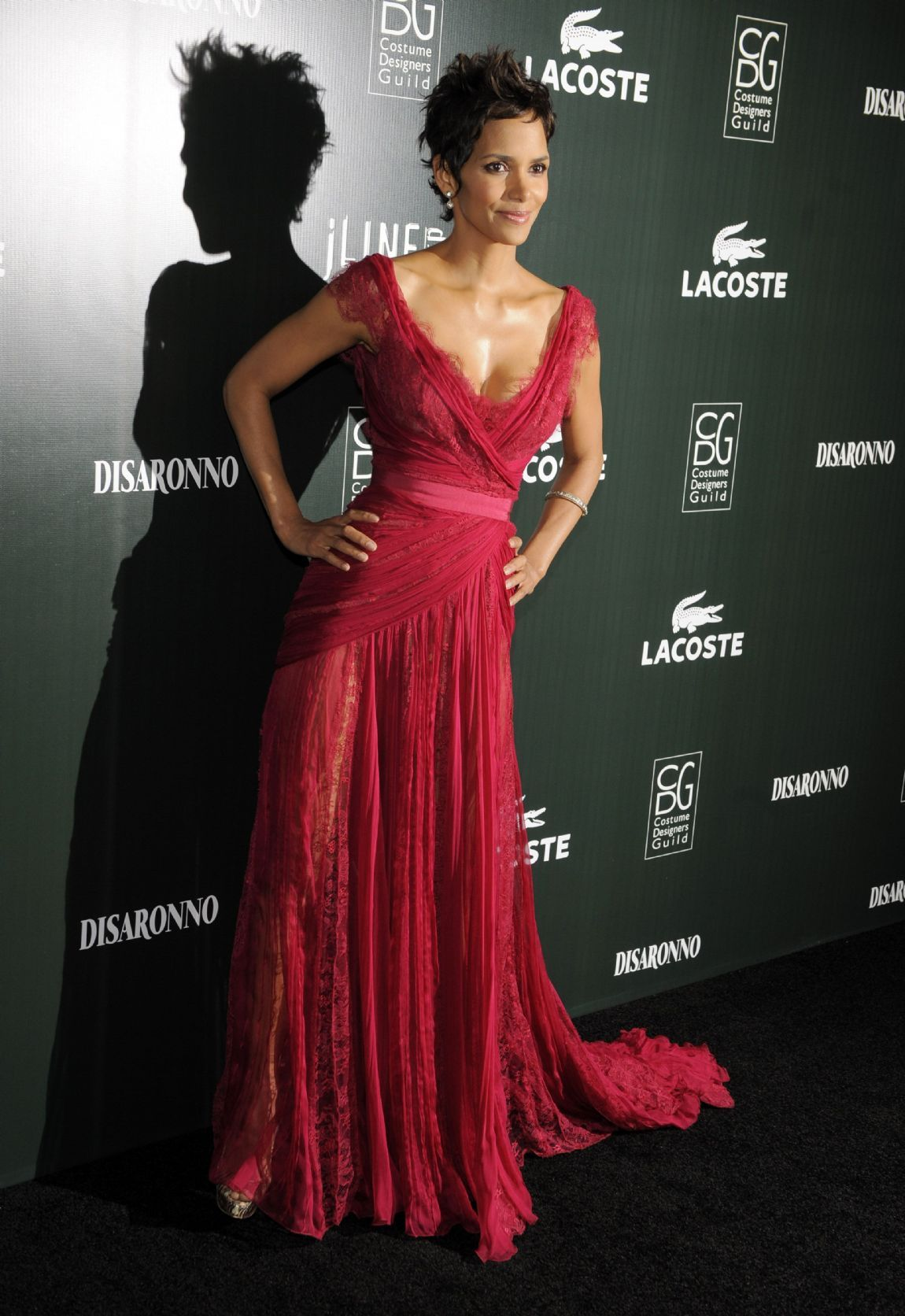 e706d1f6535 Halle Berry wearing Elie Saab at the 13th Annual Costume Designers Guild  Awards at The Beverly Hilton Hotel in Beverly Hills, February 2011.